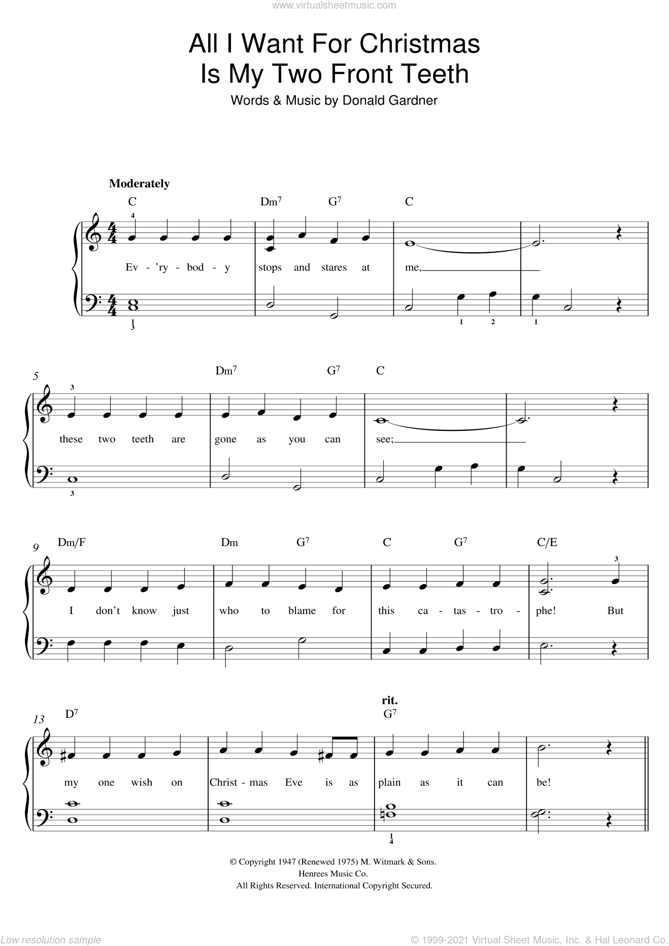 All I Want For Christmas Is My Two Front Teeth sheet music for piano solo by Don Gardner, easy. Score Image Preview.