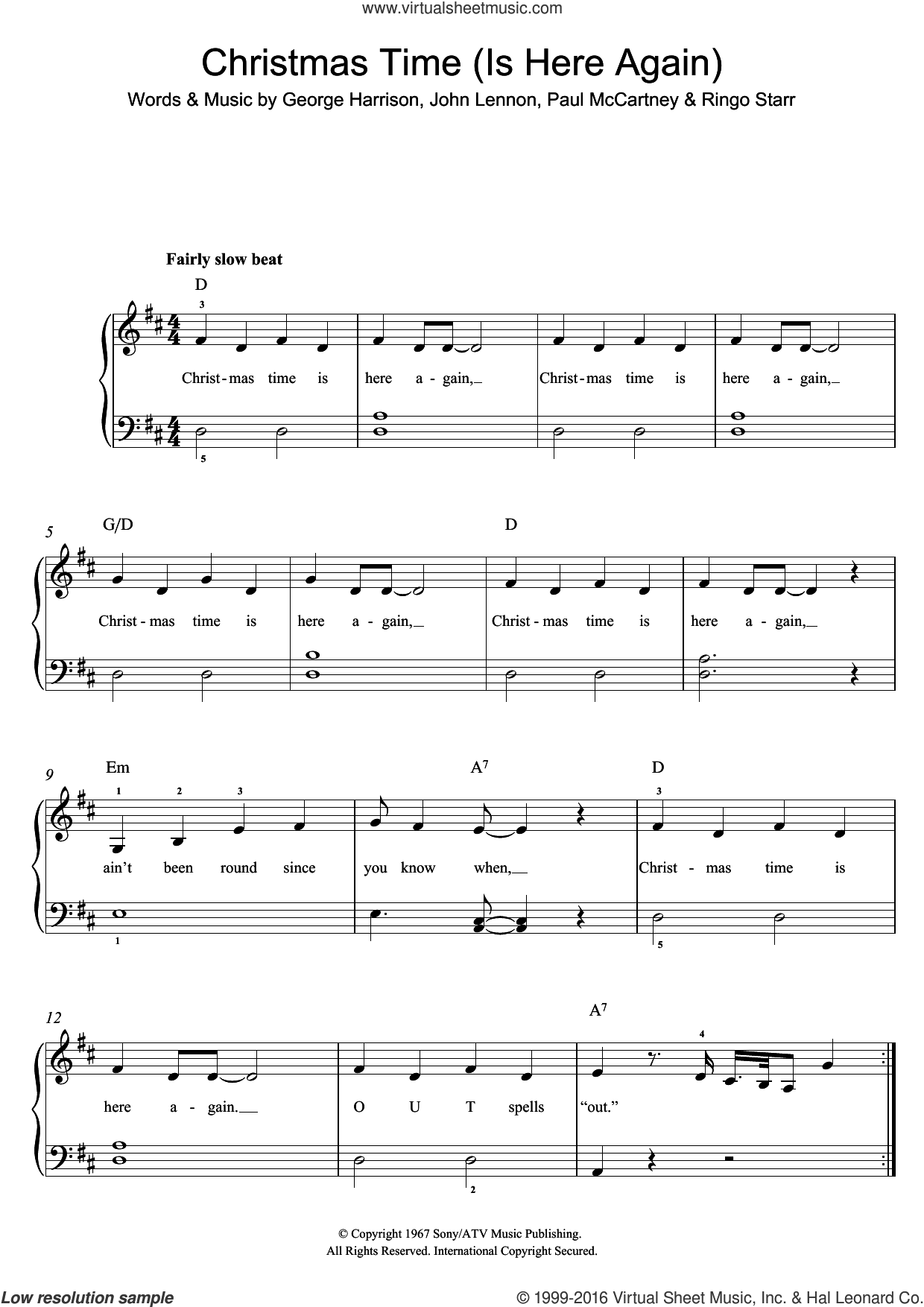 Christmas Time (Is Here Again) sheet music for piano solo by The Beatles, George Harrison, John Lennon, Paul McCartney and Ringo Starr. Score Image Preview.