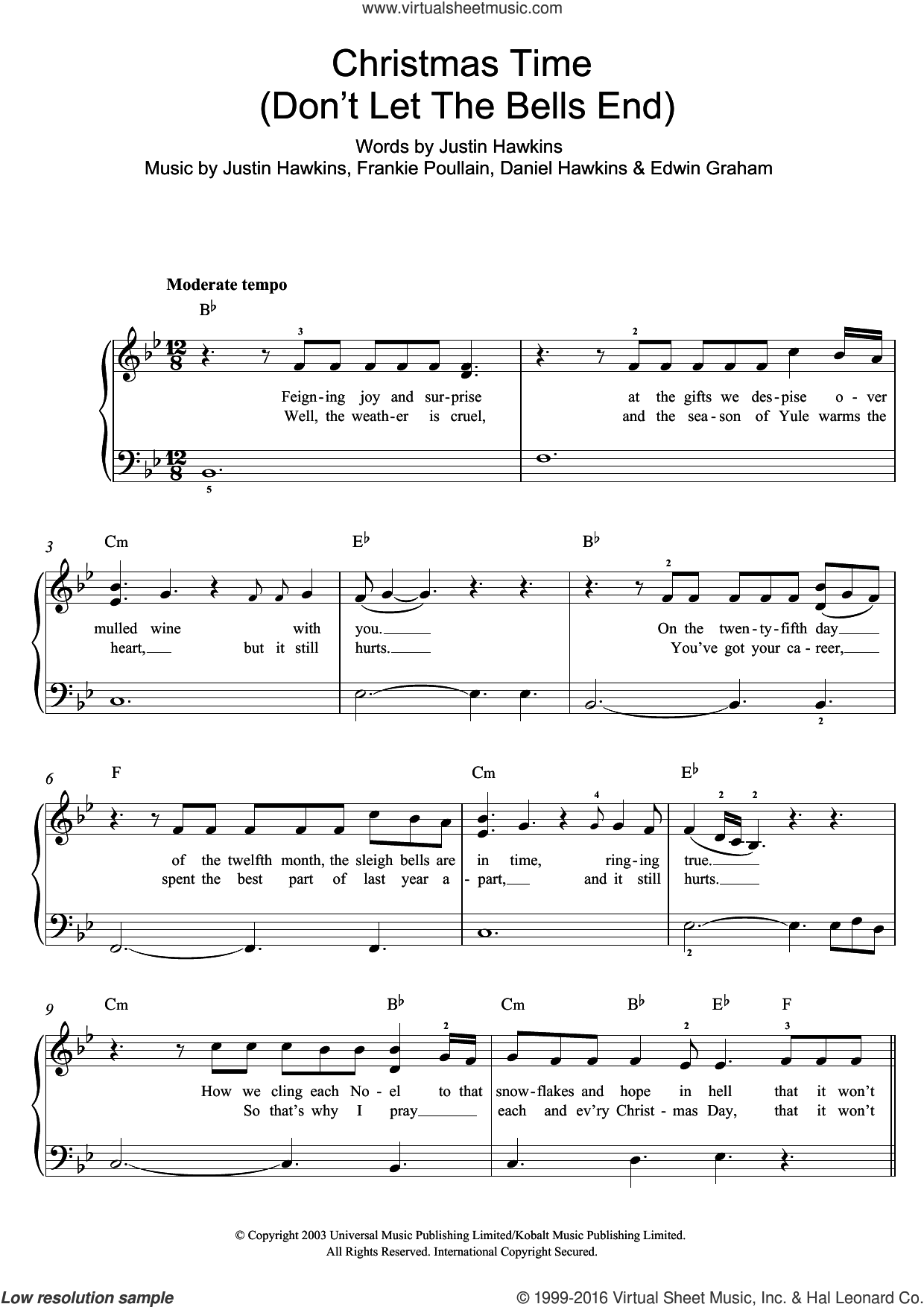 Christmas Time (Don't Let The Bells End) sheet music for piano solo by Daniel Hawkins and Justin Hawkins. Score Image Preview.