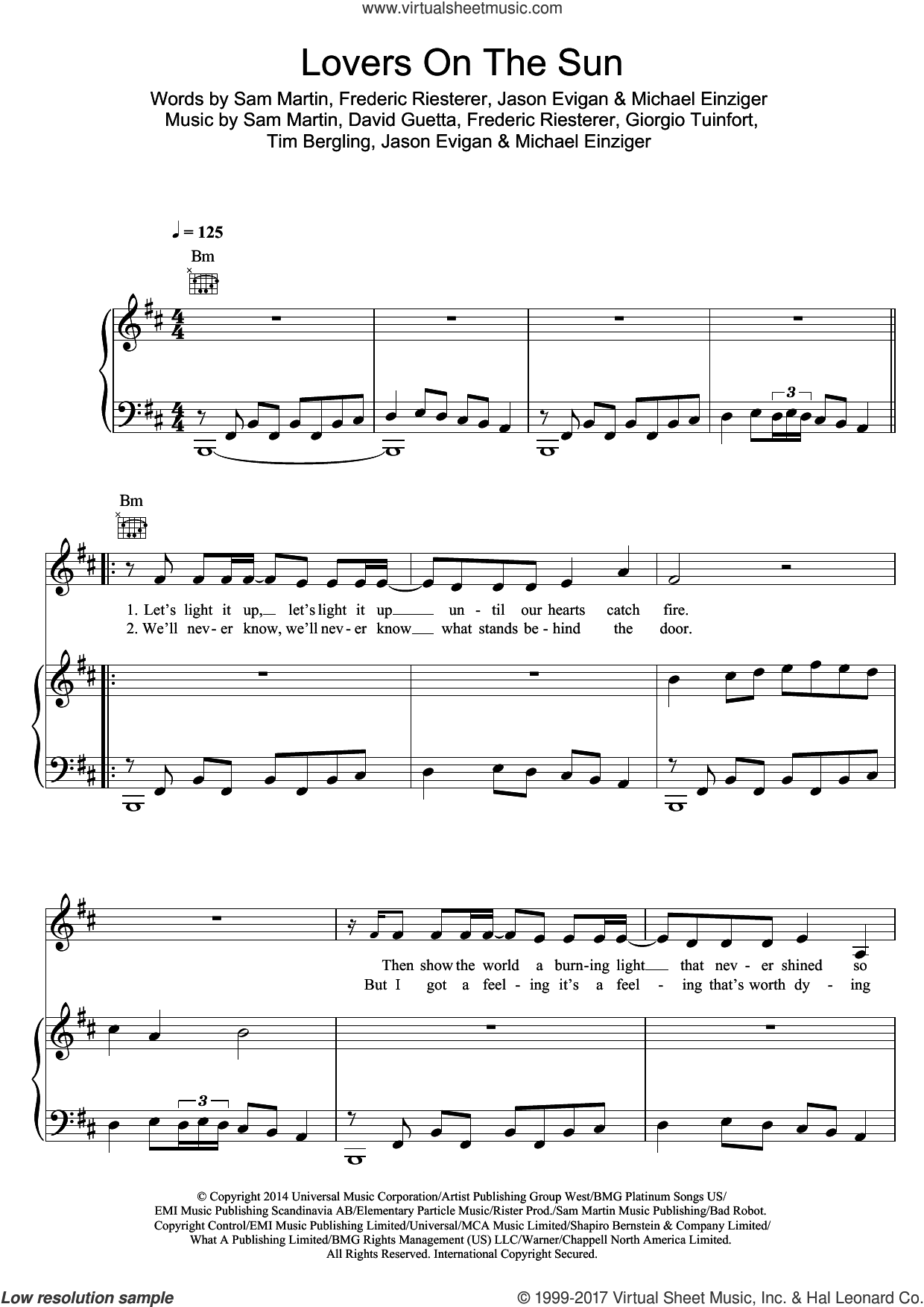 Lovers On The Sun (featuring Sam Martin) sheet music for voice, piano or guitar by David Guetta, Frederic Riesterer, Giorgio Tuinfort, Jason Evigan, Michael Einziger, Sam Martin and Tim Bergling, intermediate skill level