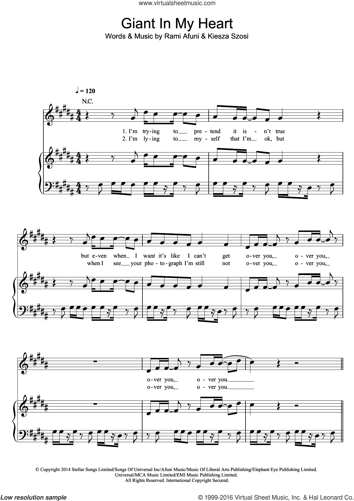Giant In My Heart sheet music for voice, piano or guitar by Kiesza, intermediate. Score Image Preview.
