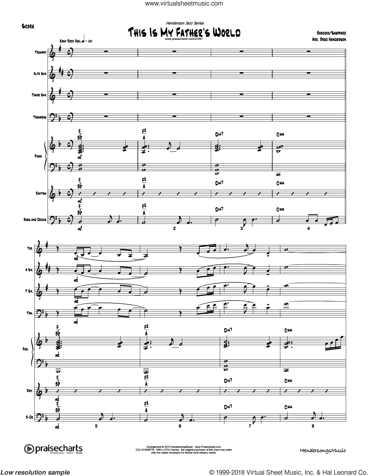 This Is My Father's World sheet music for jazz band (orchestration) by Brad Henderson