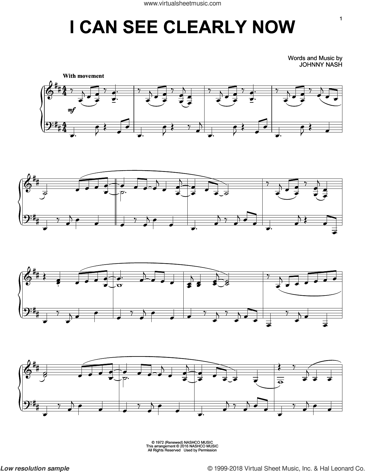 I Can See Clearly Now, (intermediate) sheet music for piano solo by Jimmy Cliff and Johnny Nash, intermediate skill level