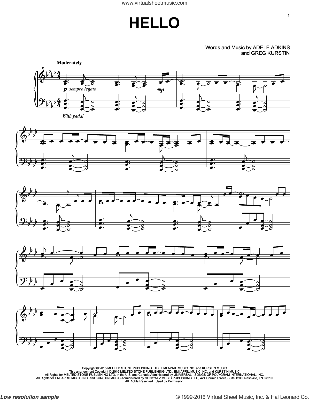 Hello sheet music for piano solo by Adele and Greg Kurstin, intermediate piano. Score Image Preview.