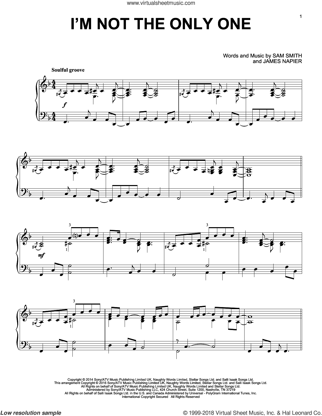 I'm Not The Only One sheet music for piano solo by Sam Smith and James Napier, intermediate skill level