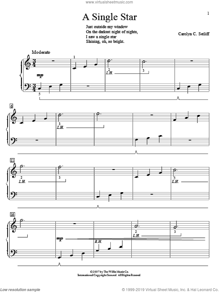 A Single Star sheet music for piano solo (elementary) by Carolyn C. Setliff, beginner piano (elementary)