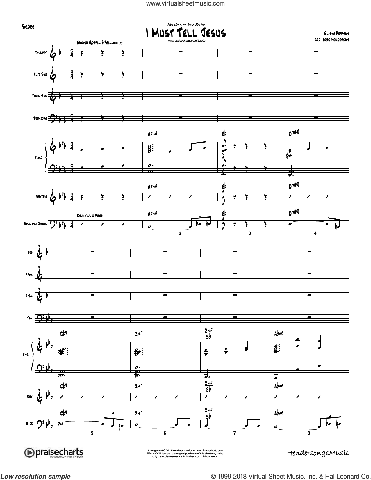 I Must Tell Jesus sheet music for concert band (orchestration, orchestration) by Brad Henderson. Score Image Preview.