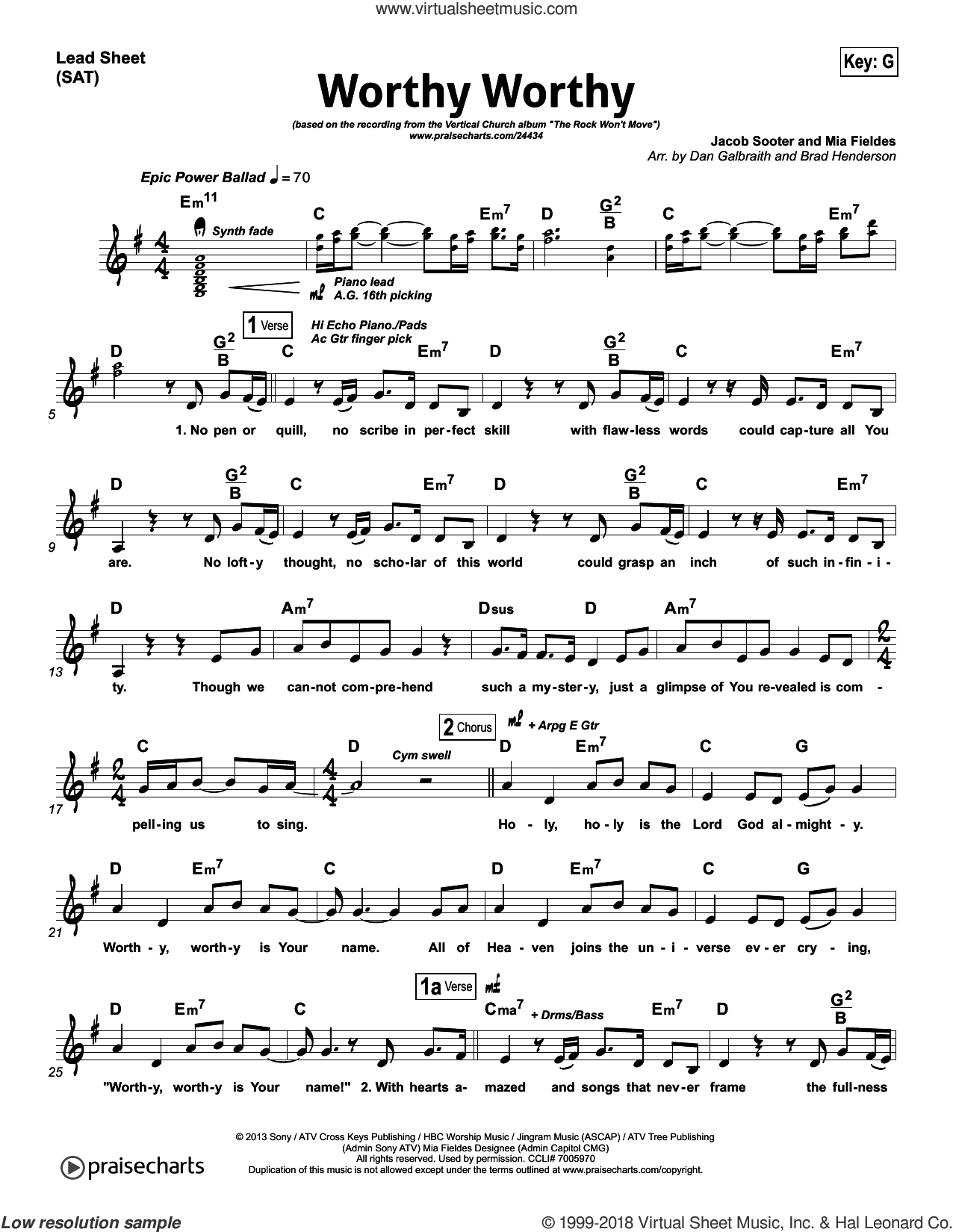 Worthy Worthy sheet music for voice and other instruments (fake book, orchestration) by Dan Galbraith and Mia Fieldes. Score Image Preview.
