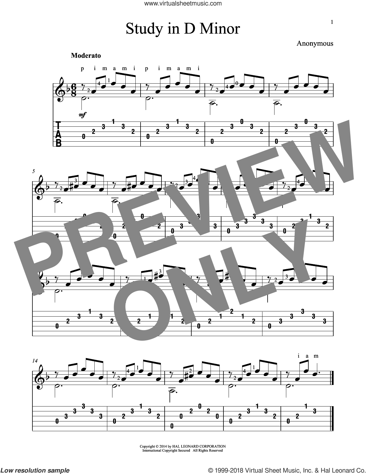Study In D Minor sheet music for guitar solo by John Hill, classical score, intermediate guitar. Score Image Preview.