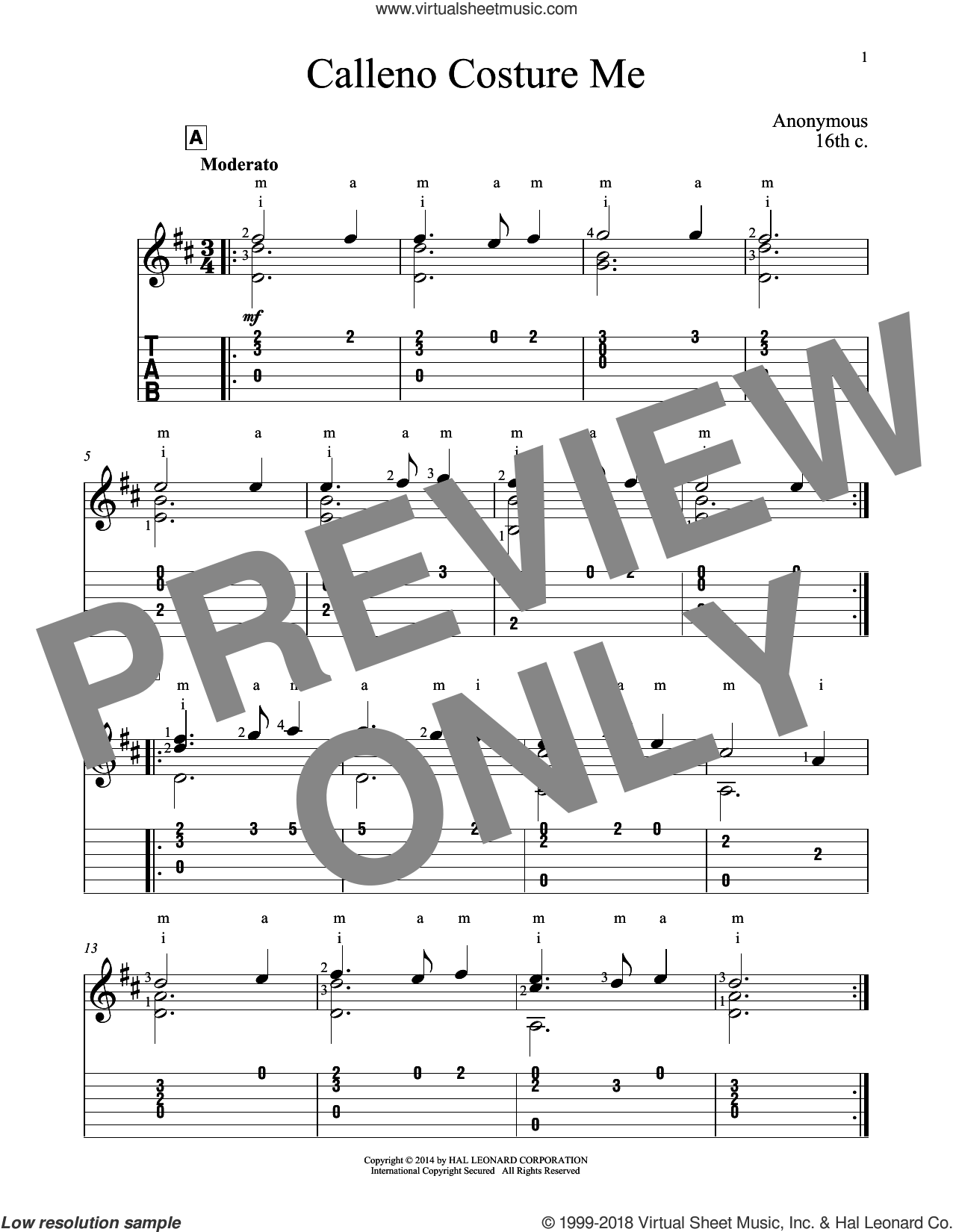 Calleno Costure Me sheet music for guitar solo by John Hill, classical score, intermediate