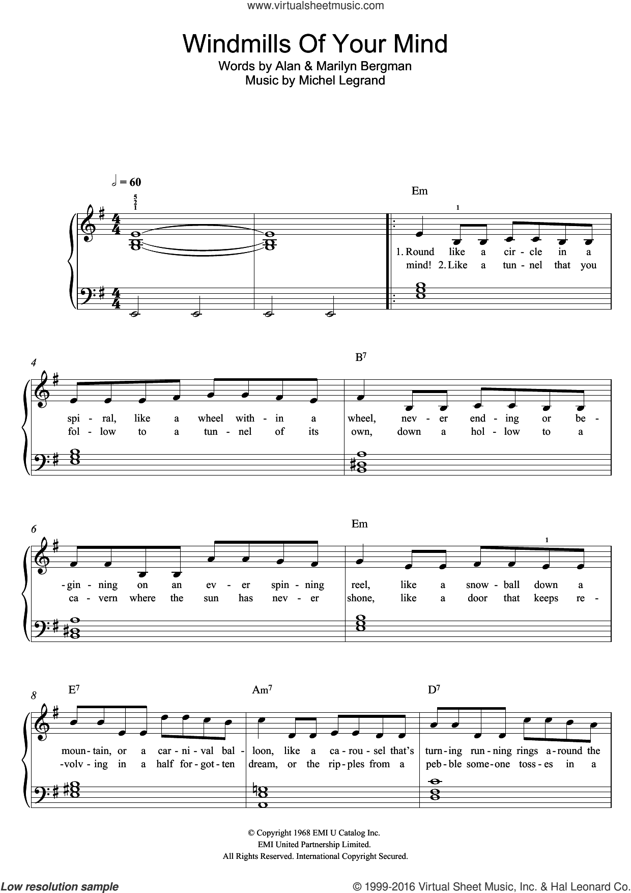 The Windmills Of Your Mind sheet music for piano solo by Noel Harrison, Michel LeGrand, Alan and Marilyn Bergman, easy skill level