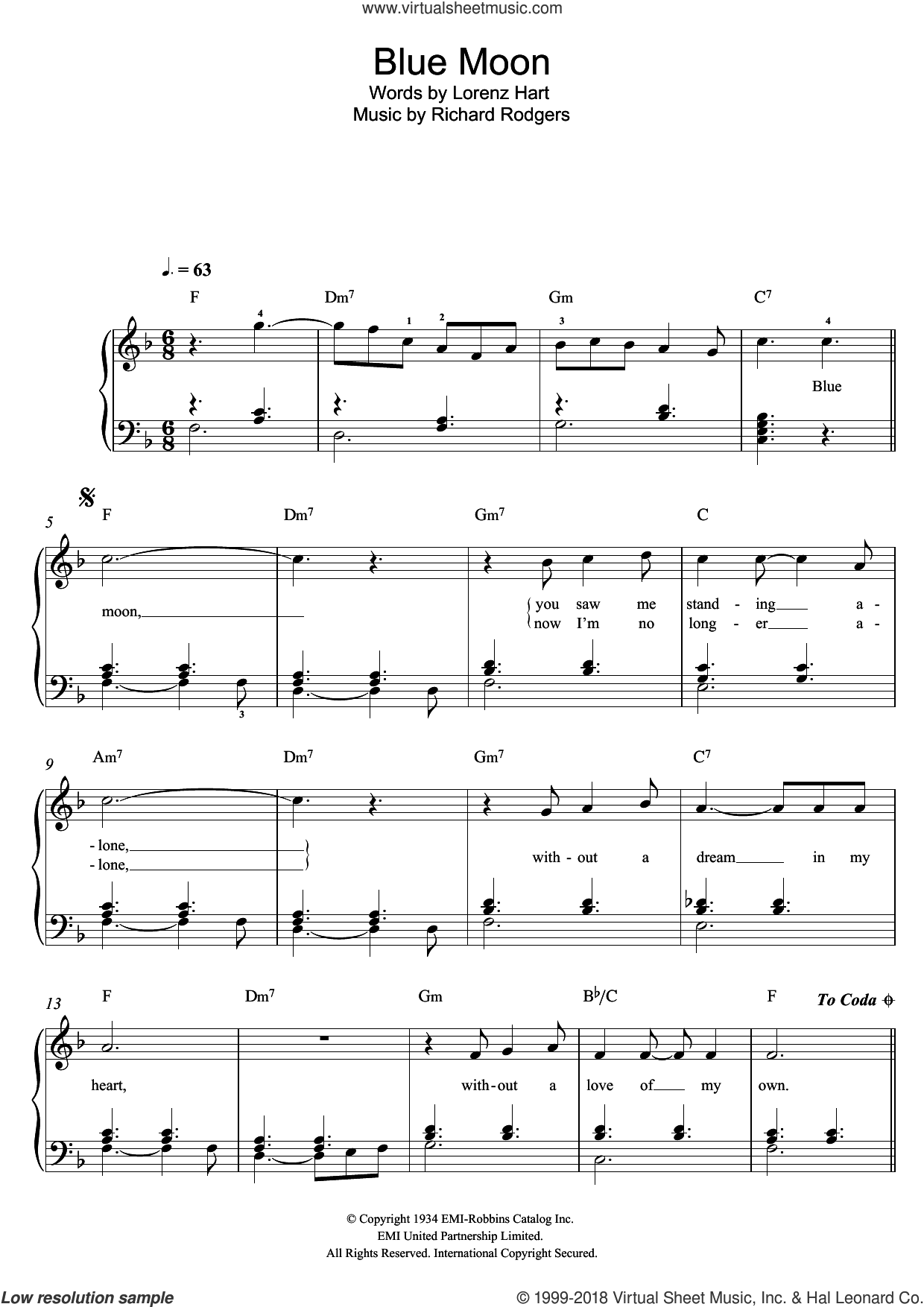 Blue Moon, (easy) sheet music for piano solo by Richard Rodgers, Rodgers & Hart and Lorenz Hart, easy skill level