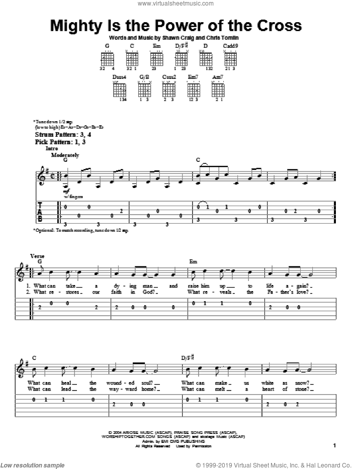 Mighty Is The Power Of The Cross sheet music for guitar solo (easy tablature) by Chris Tomlin and Shawn Craig, easy guitar (easy tablature)