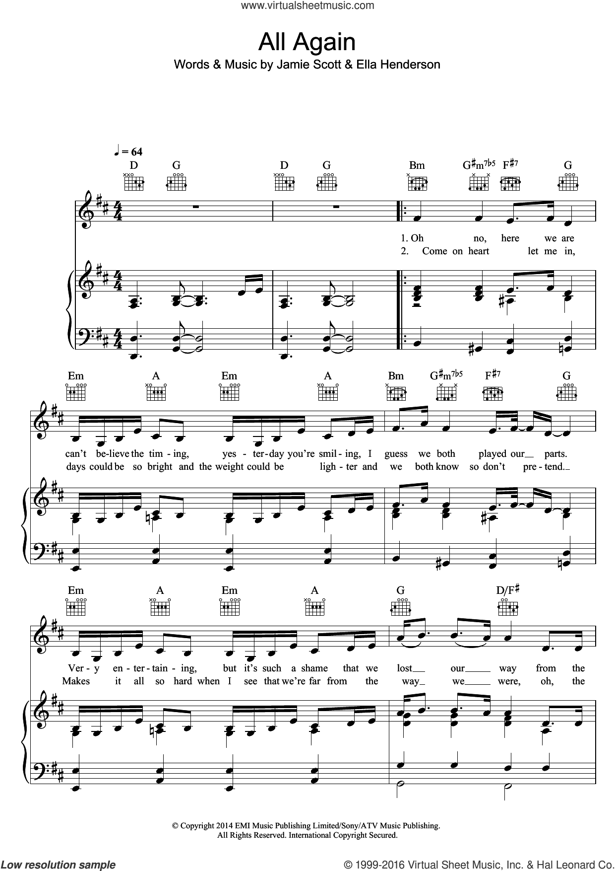 All Again sheet music for voice, piano or guitar by Ella Henderson and Jamie Scott. Score Image Preview.