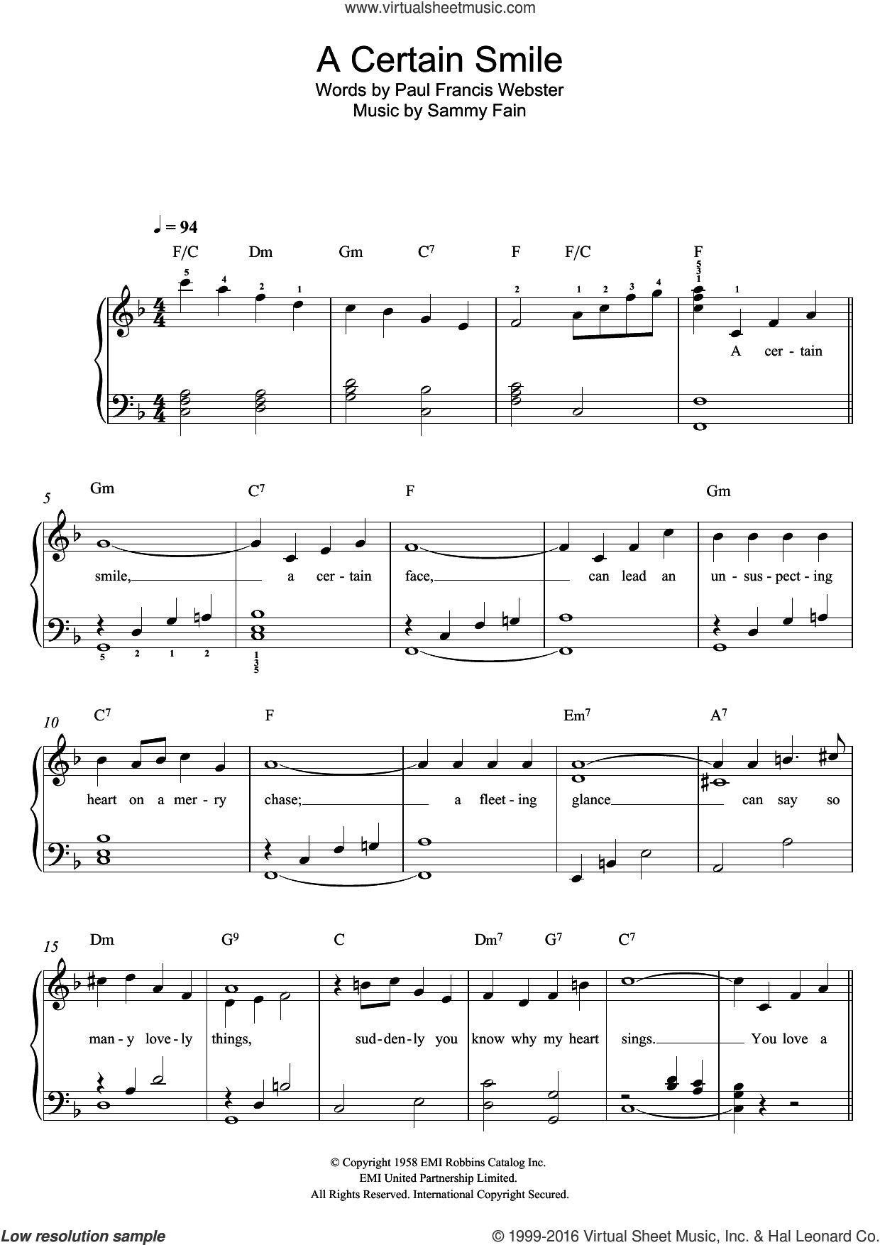 A Certain Smile sheet music for piano solo by Johnny Mathis, Sammy Fain and Paul Francis Webster, easy skill level