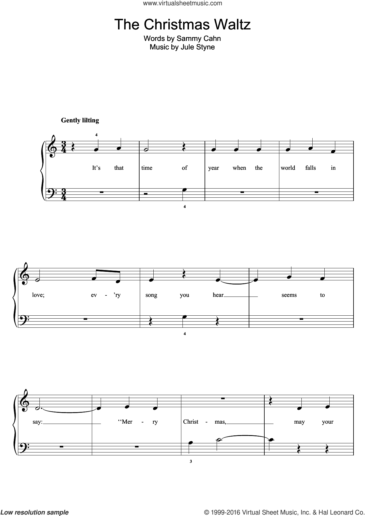 The Christmas Waltz, (easy) sheet music for piano solo by Sammy Cahn and Jule Styne, easy skill level
