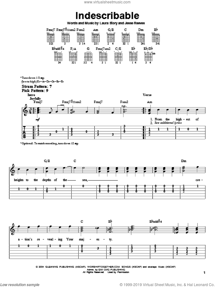 Indescribable sheet music for guitar solo (easy tablature) by Chris Tomlin, Jesse Reeves and Laura Story. Score Image Preview.