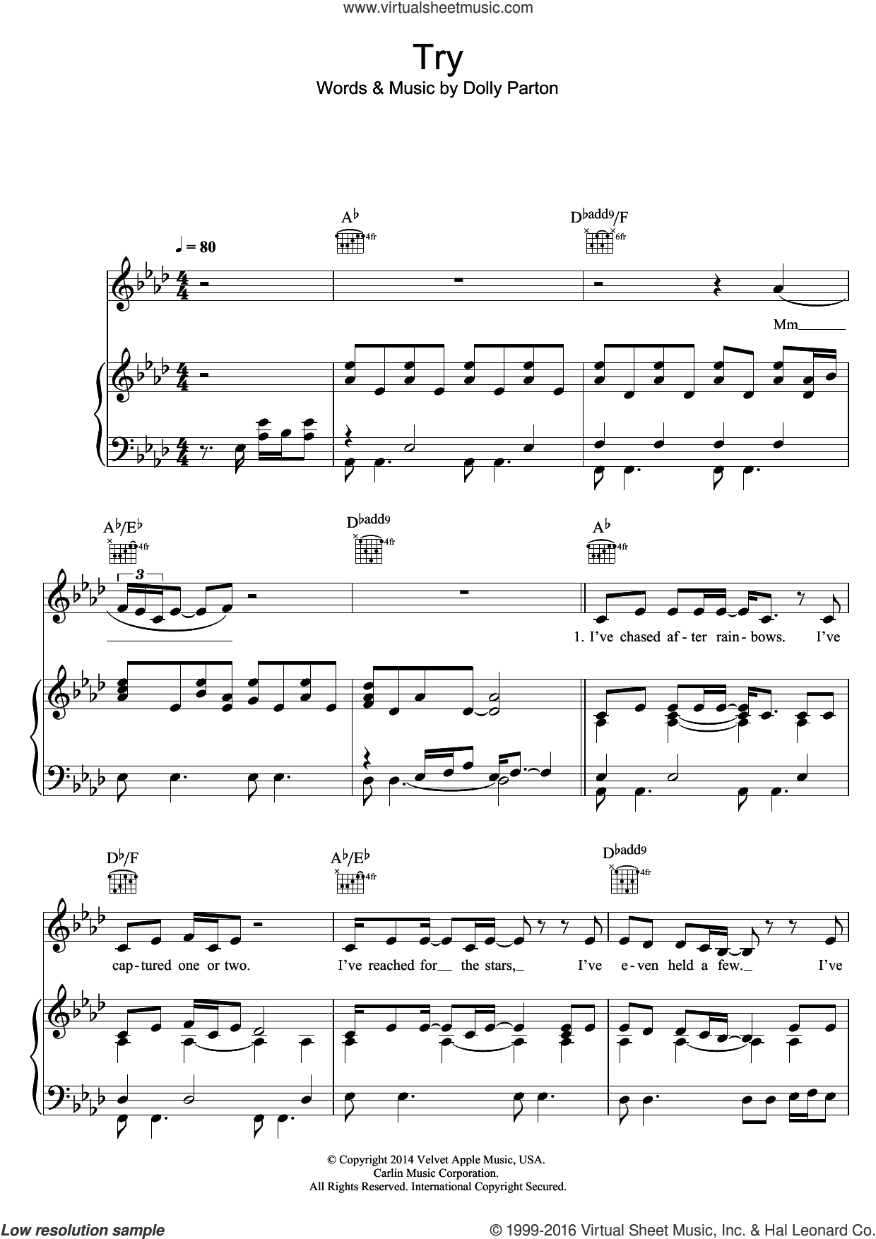 Try sheet music for voice, piano or guitar by Dolly Parton, intermediate skill level
