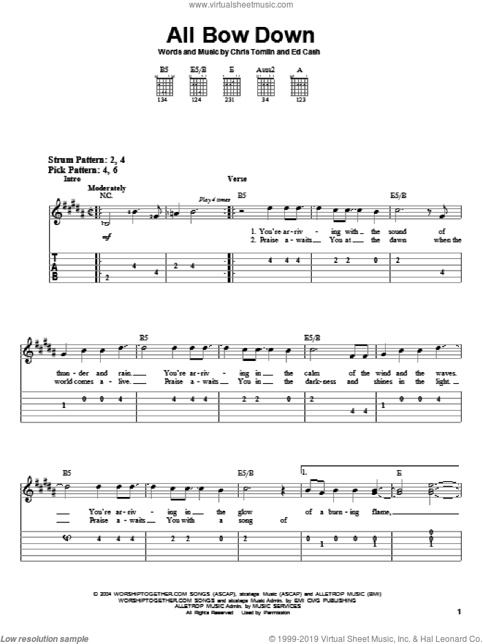 All Bow Down sheet music for guitar solo (easy tablature) by Chris Tomlin and Ed Cash, easy guitar (easy tablature). Score Image Preview.