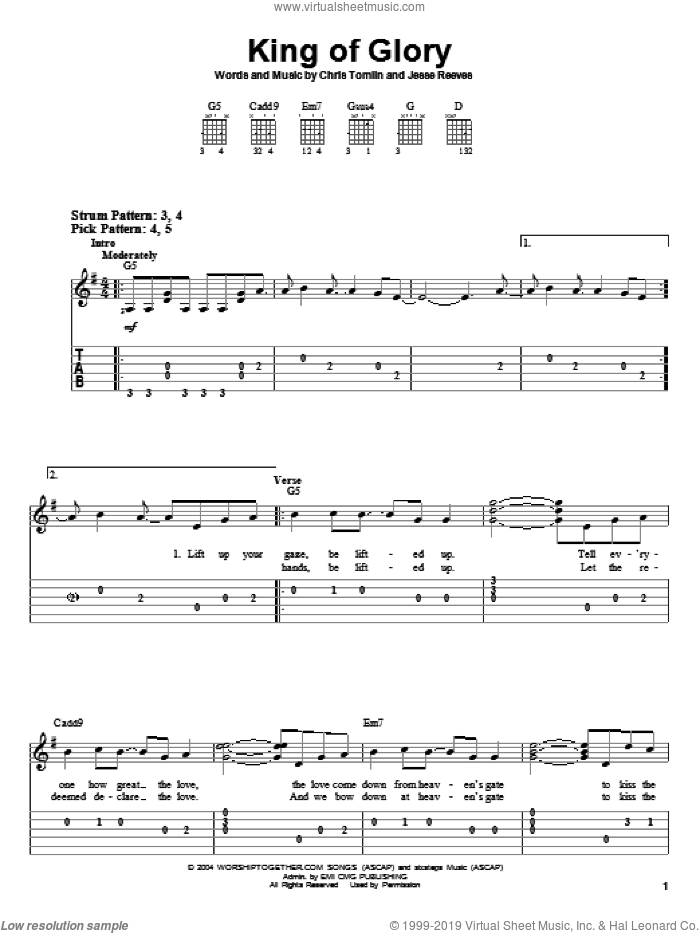 King Of Glory sheet music for guitar solo (easy tablature) by Chris Tomlin and Jesse Reeves, easy guitar (easy tablature)