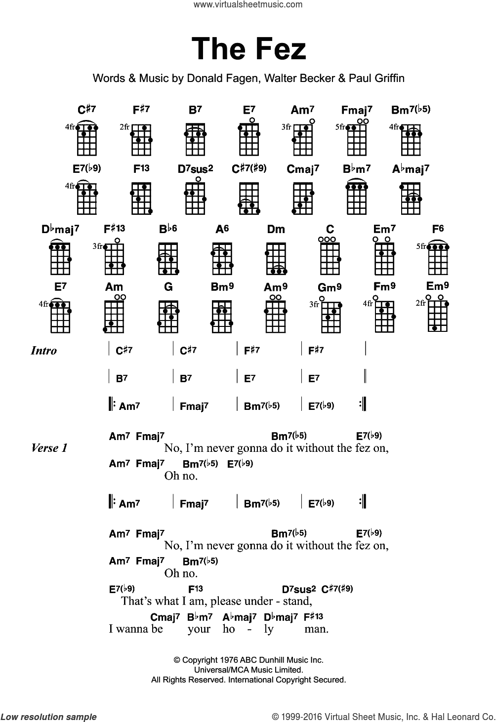 The Fez sheet music for ukulele by Donald Fagen and Walter Becker. Score Image Preview.