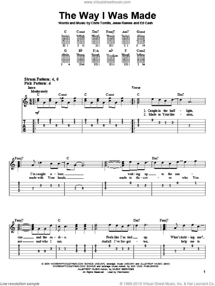 The Way I Was Made sheet music for guitar solo (easy tablature) by Chris Tomlin, Ed Cash and Jesse Reeves, easy guitar (easy tablature). Score Image Preview.