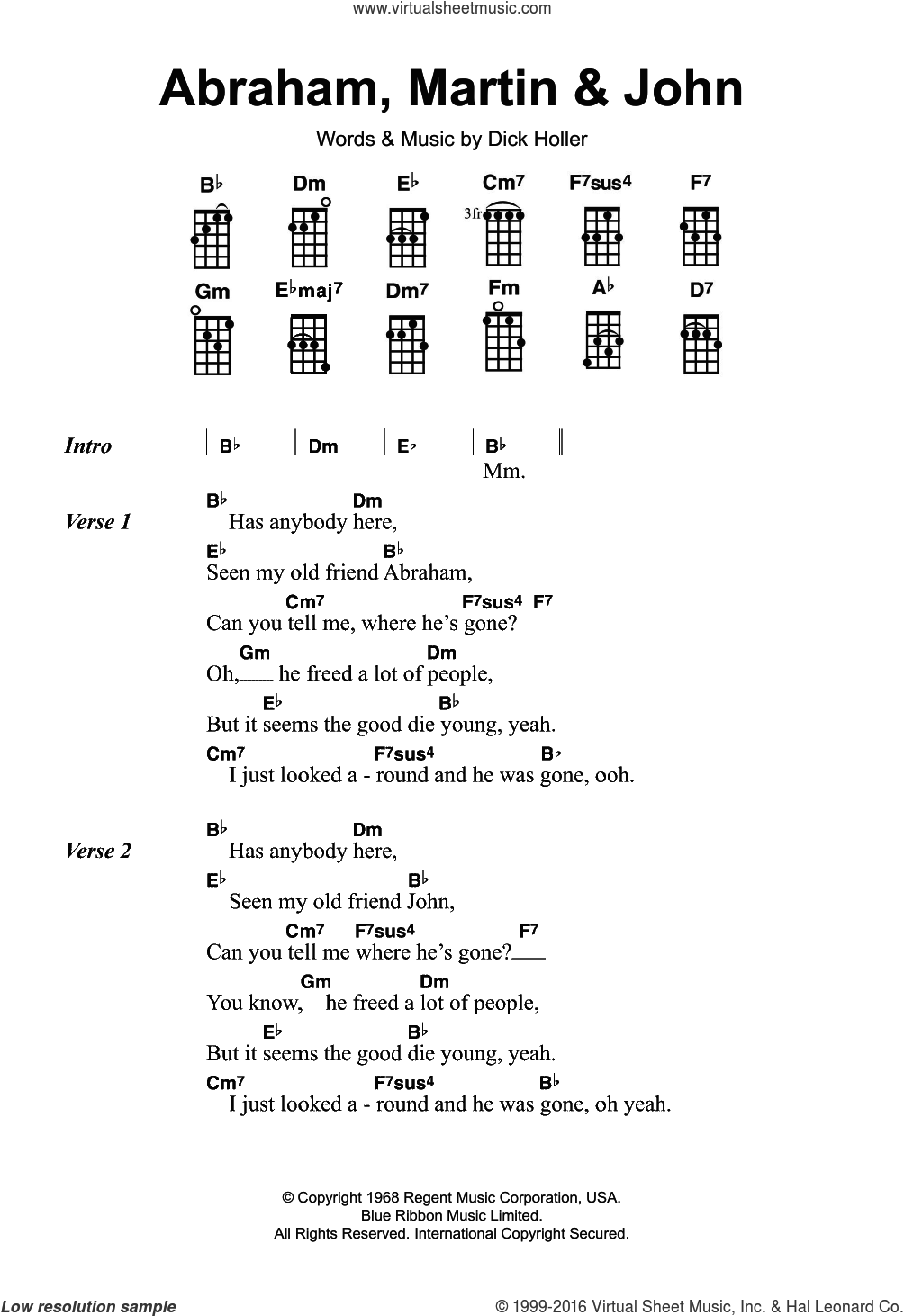 Abraham, Martin and John sheet music for ukulele by Marvin Gaye and Dick Holler, intermediate skill level