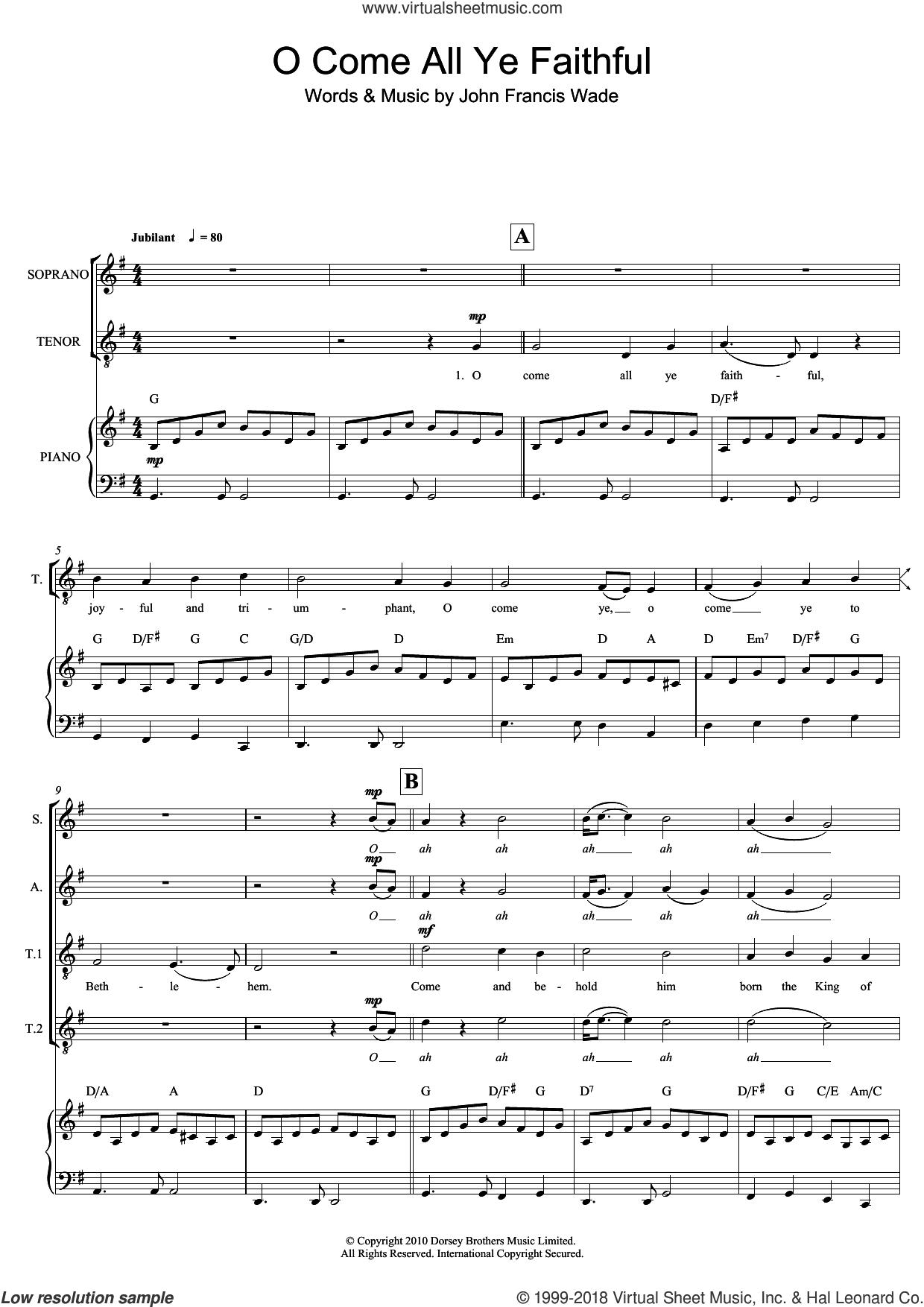 O Come All Ye Faithful sheet music for choir (SAT: soprano, alto, tenor) by John Francis Wade, Mark De-Lisser and Miscellaneous, intermediate skill level
