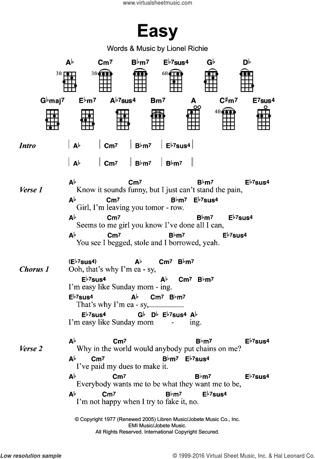 Easy sheet music for ukulele by The Commodores and Lionel Richie, intermediate skill level