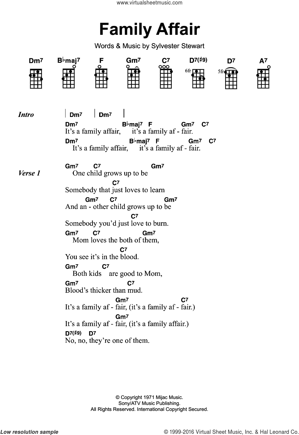 Family Affair sheet music for ukulele by Sylvester Stewart. Score Image Preview.