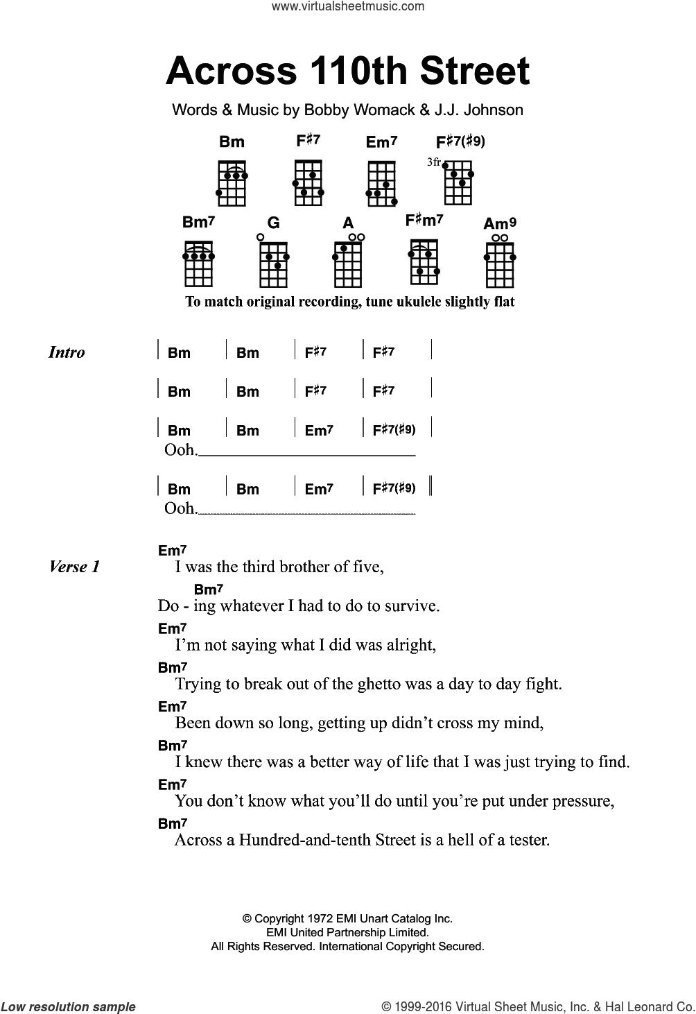 Across 110th Street sheet music for ukulele by Bobby Womack and JJ Johnson, intermediate skill level