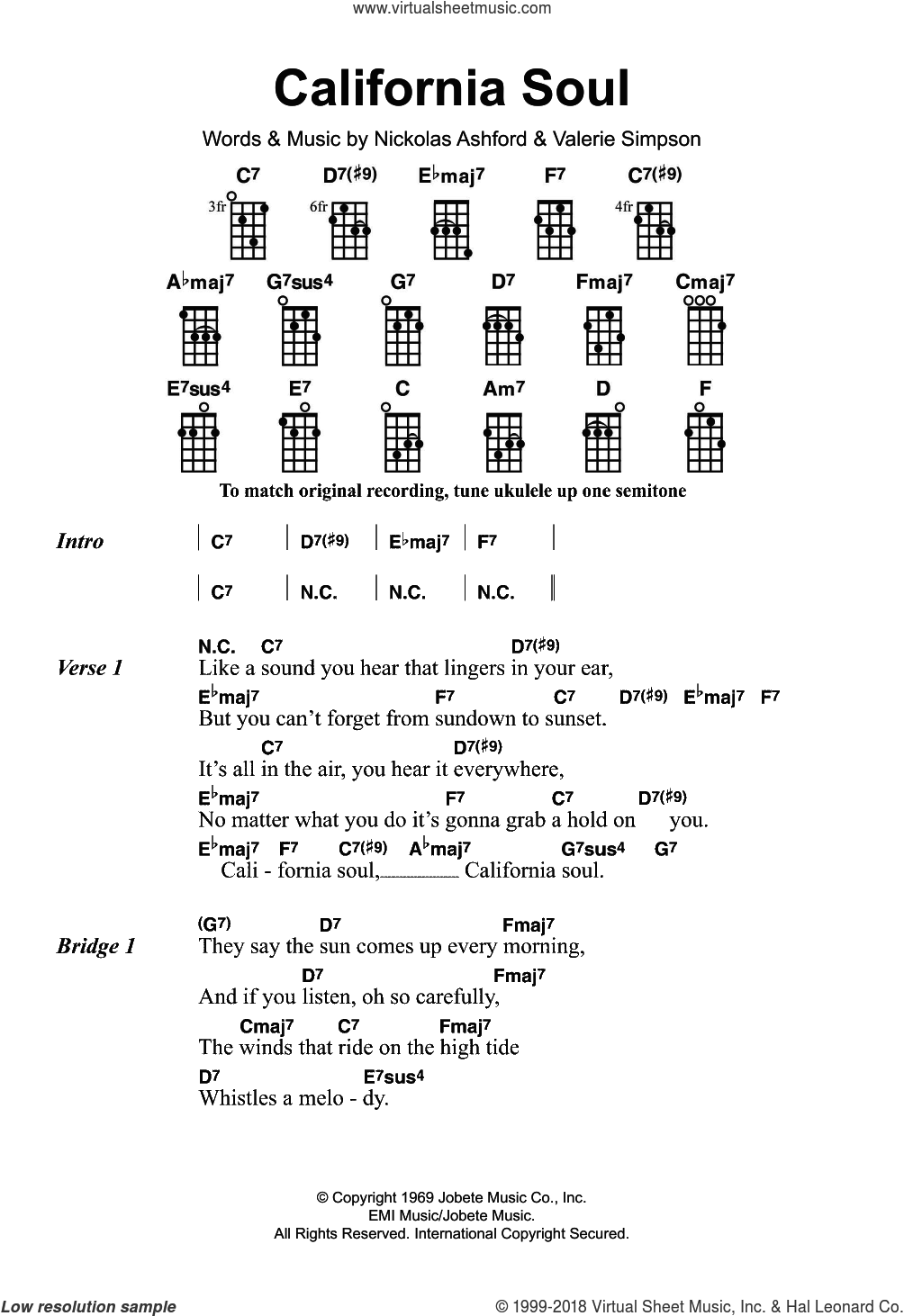 California Soul sheet music for ukulele by Marlena Shaw, Nickolas Ashford and Valerie Simpson, intermediate. Score Image Preview.
