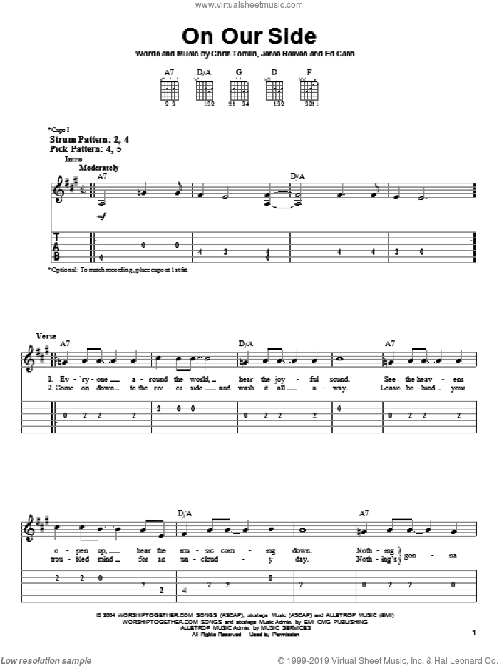 On Our Side sheet music for guitar solo (easy tablature) by Jesse Reeves, Chris Tomlin and Ed Cash. Score Image Preview.