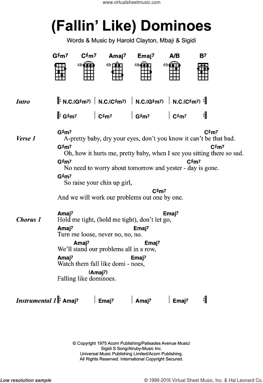 (Fallin' Like) Dominoes sheet music for ukulele by Harold Clayton. Score Image Preview.