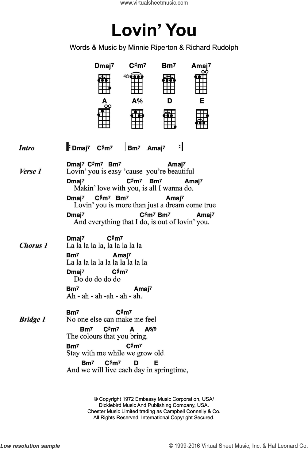 Lovin' You sheet music for ukulele by Minnie Riperton and Richard Rudolph, intermediate skill level