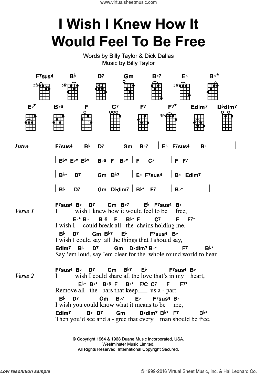 I Wish I Knew How It Would Feel To Be Free sheet music for ukulele by Billy Taylor, Nina Simone and Dick Dallas, intermediate skill level