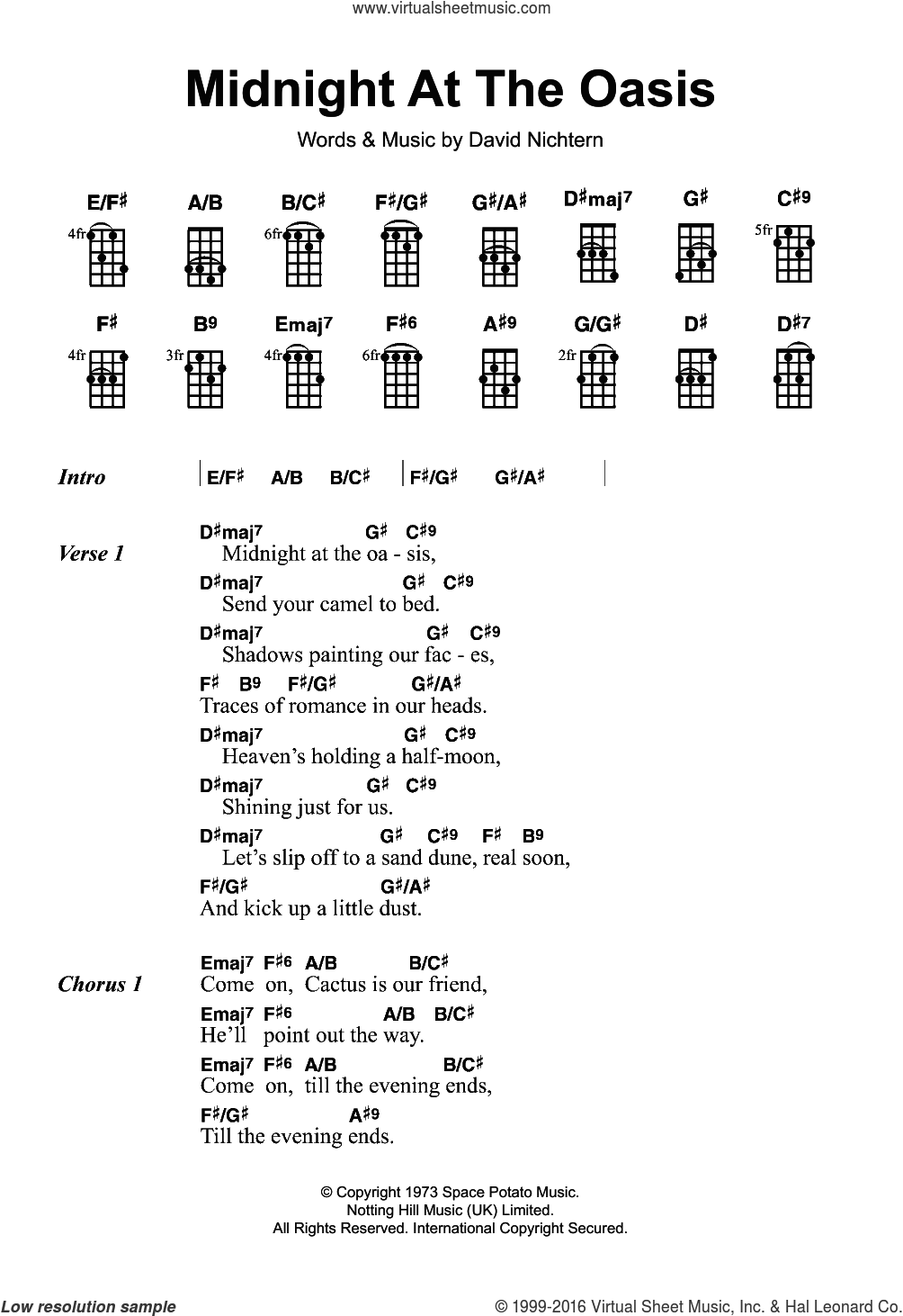 Midnight At The Oasis sheet music for ukulele by Maria Muldaur, The Brand New Heavies and David Nichtern, intermediate skill level