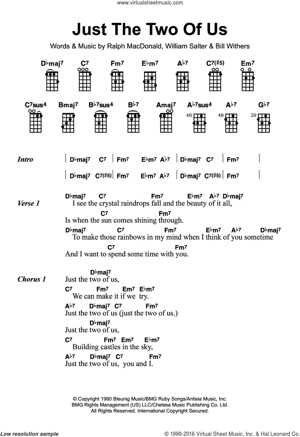 Just The Two Of Us sheet music for ukulele by Bill Withers, Ralph MacDonald and William Salter, intermediate skill level