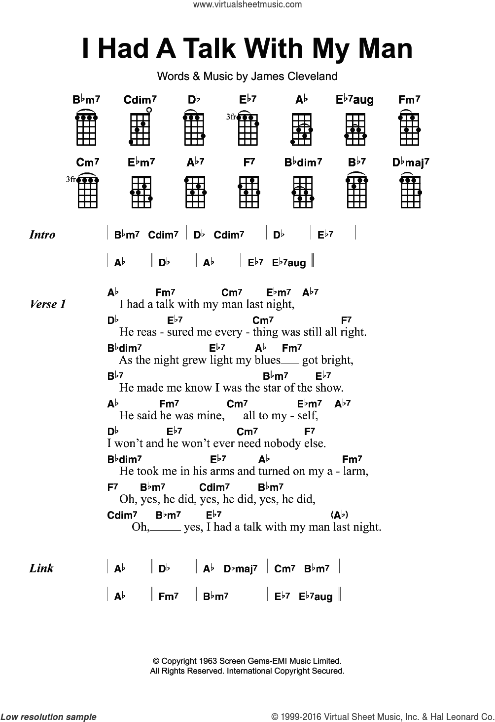 I Had A Talk With My Man sheet music for ukulele by Mitty Collier and James Cleveland, intermediate