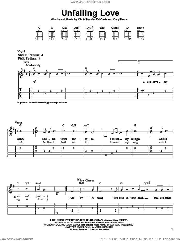 Unfailing Love sheet music for guitar solo (easy tablature) by Chris Tomlin and Ed Cash, easy guitar (easy tablature). Score Image Preview.