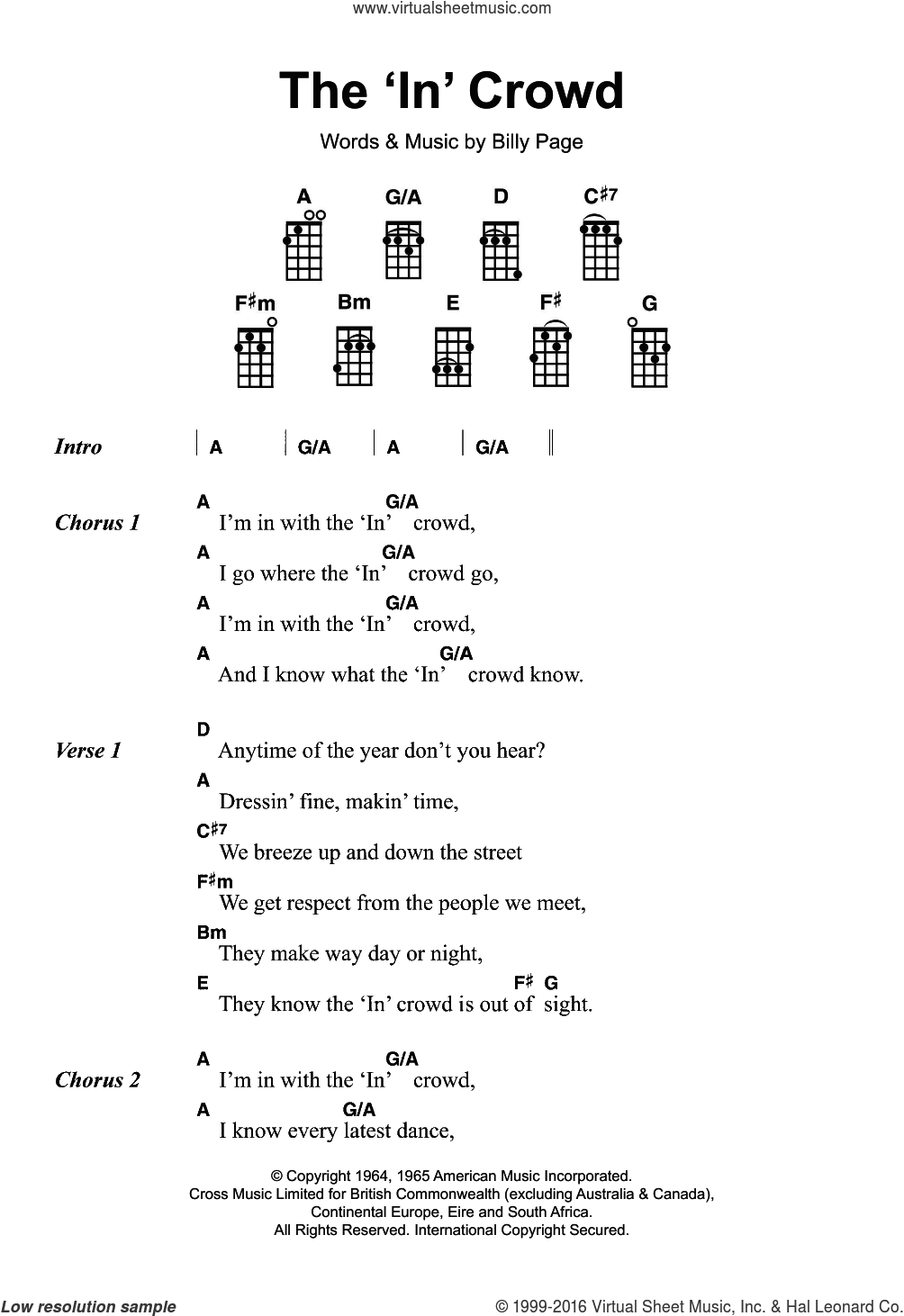 The 'In' Crowd sheet music for ukulele by Dobie Gray, Gregory Porter and Billy Page, intermediate skill level