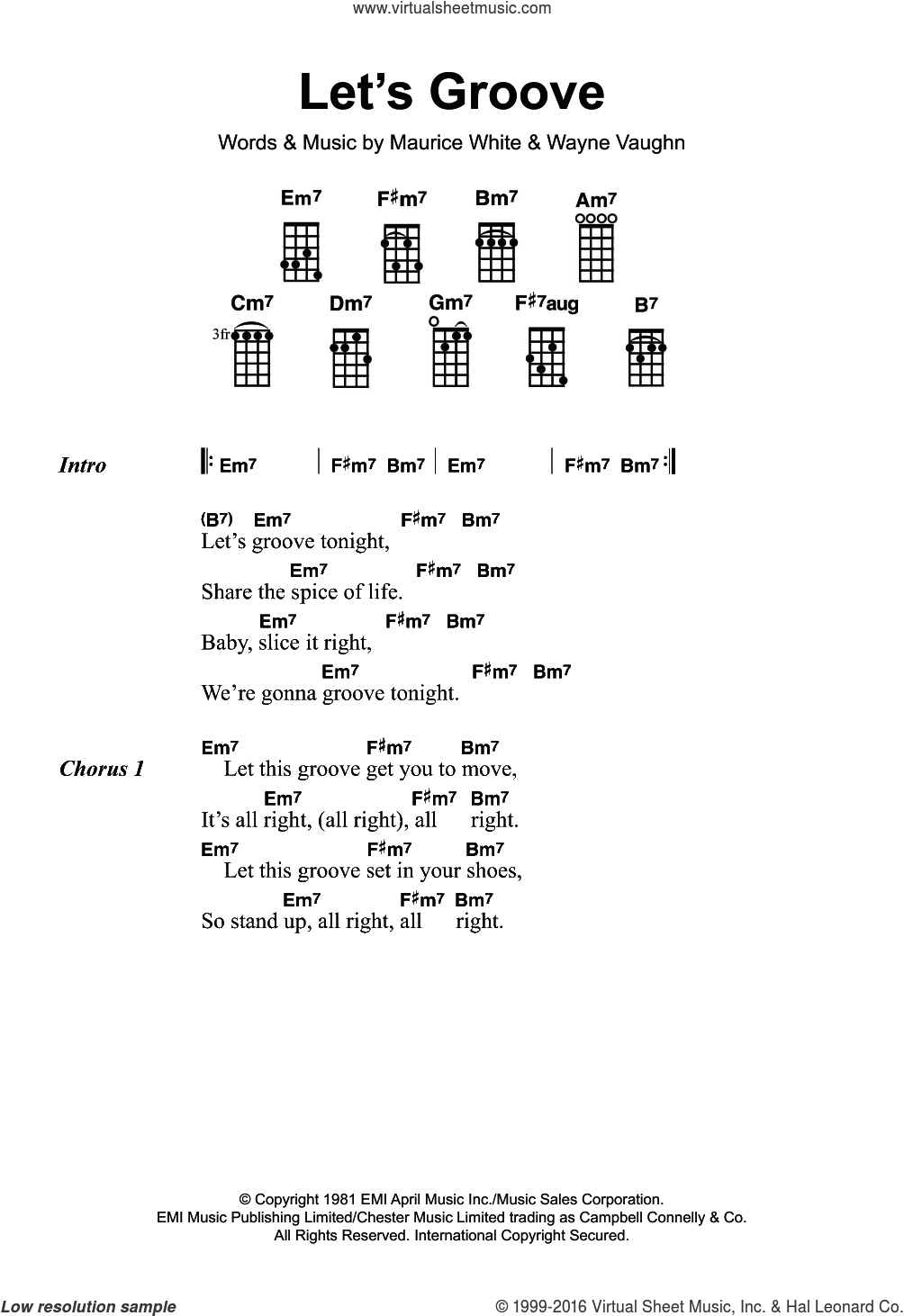 Let's Groove sheet music for ukulele by Earth, Wind & Fire. Score Image Preview.