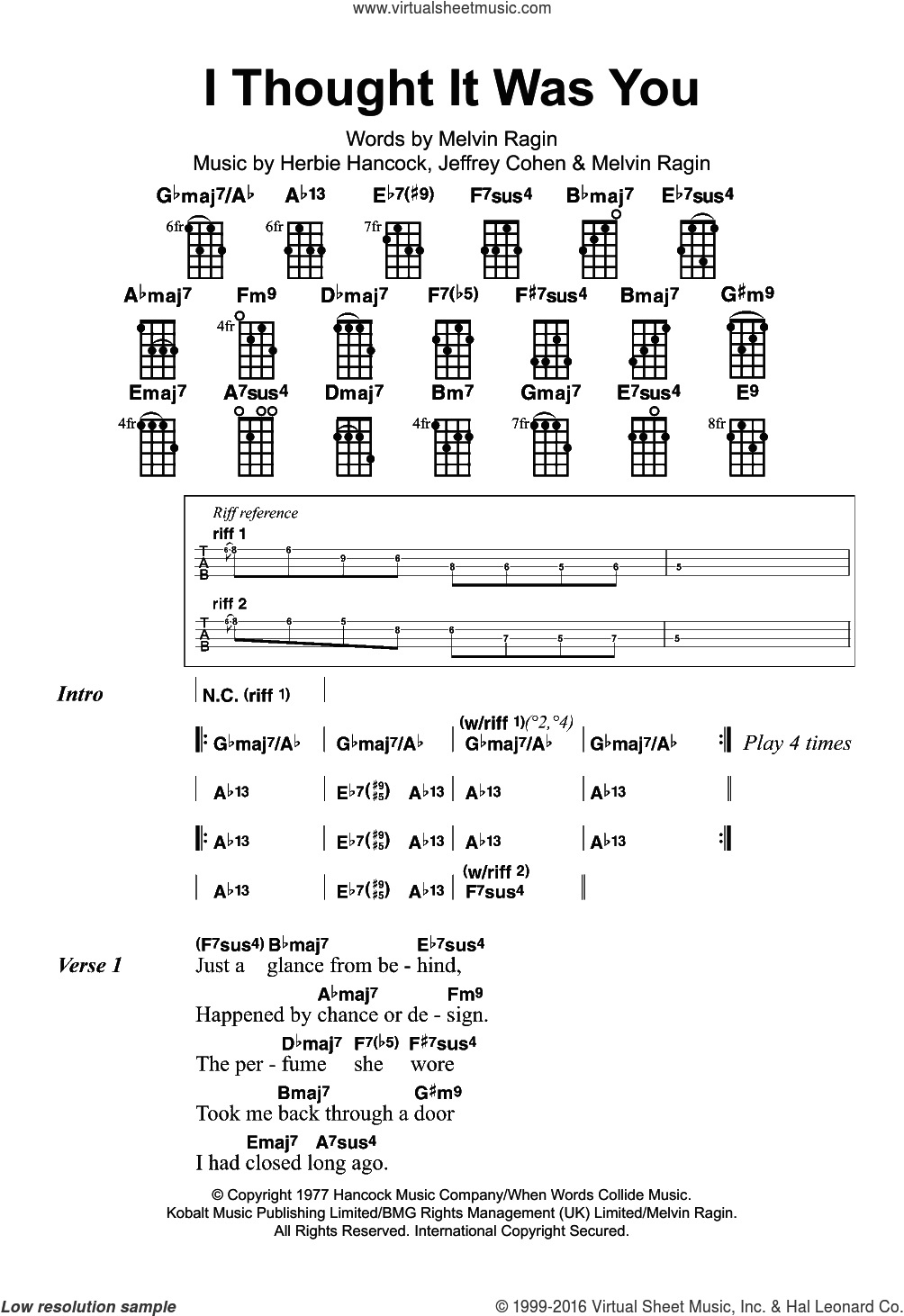 I Thought It Was You sheet music for ukulele by Herbie Hancock, intermediate. Score Image Preview.