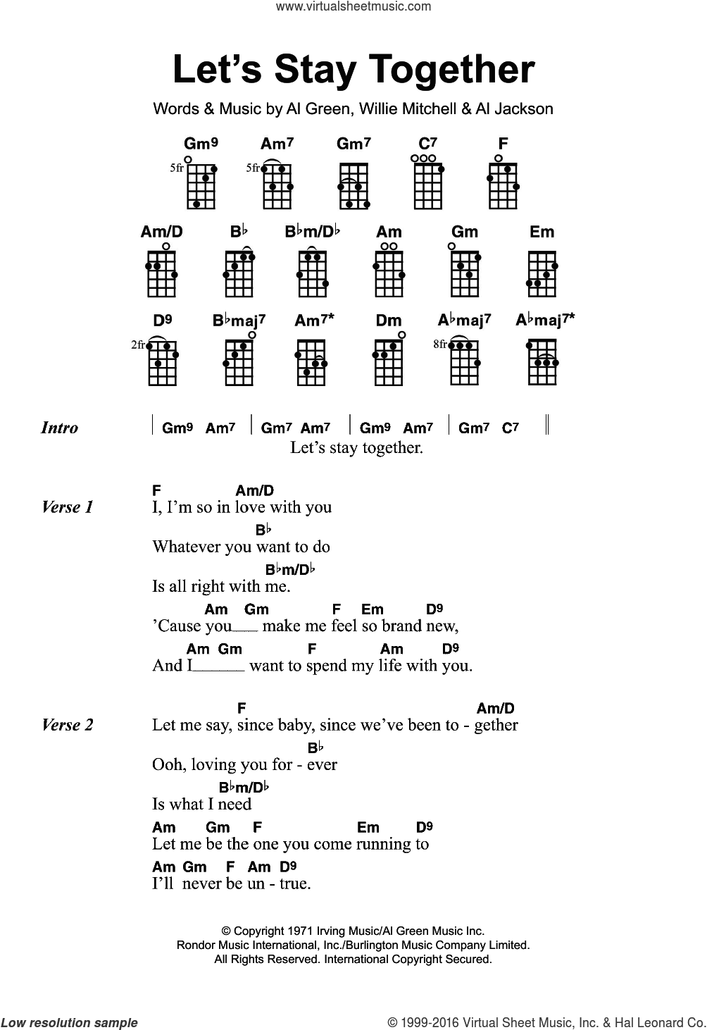 Let's Stay Together sheet music for ukulele by Al Green and Willie Mitchell, intermediate ukulele. Score Image Preview.