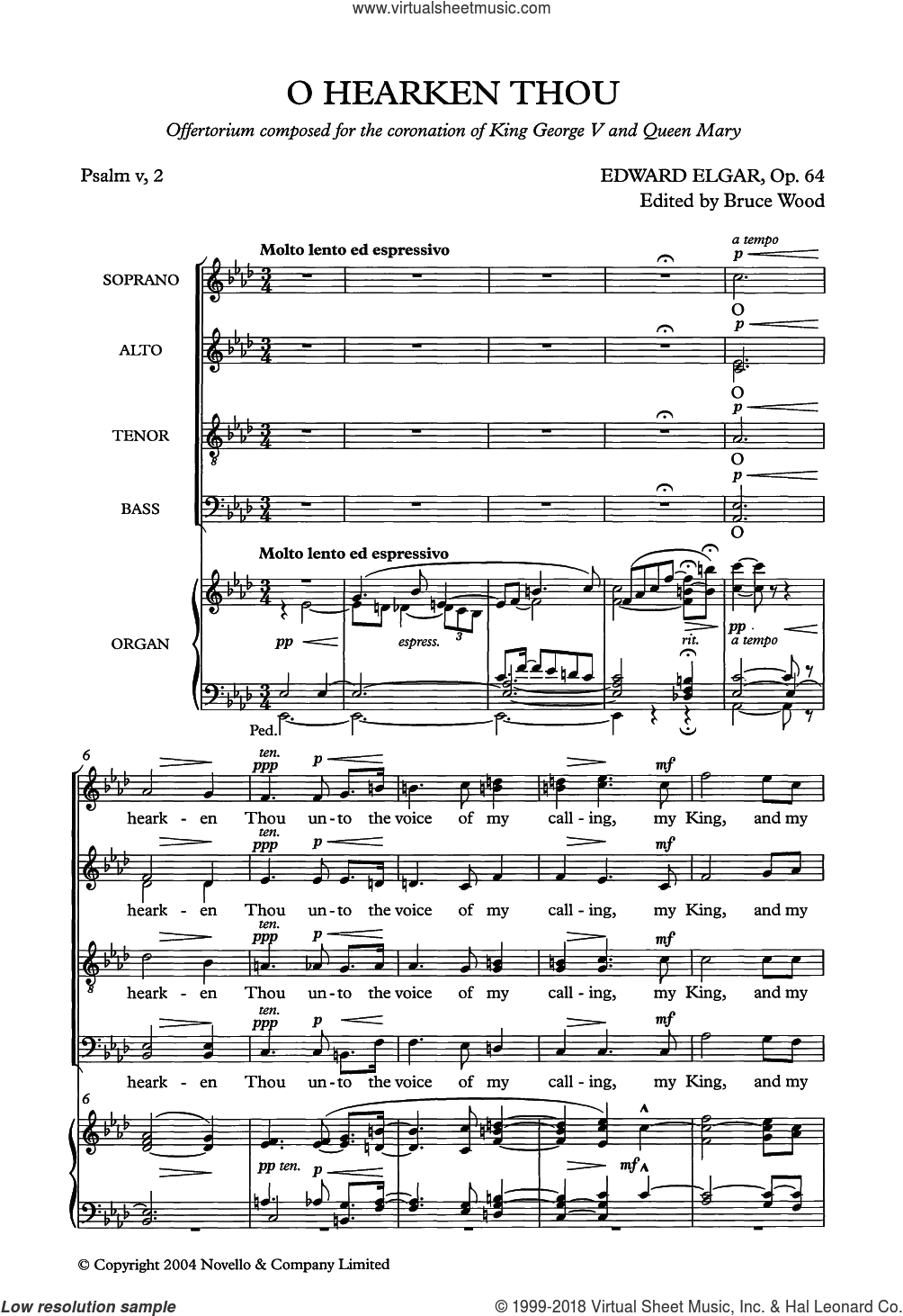 O Hearken Thou sheet music for choir by Edward Elgar, classical score, intermediate. Score Image Preview.