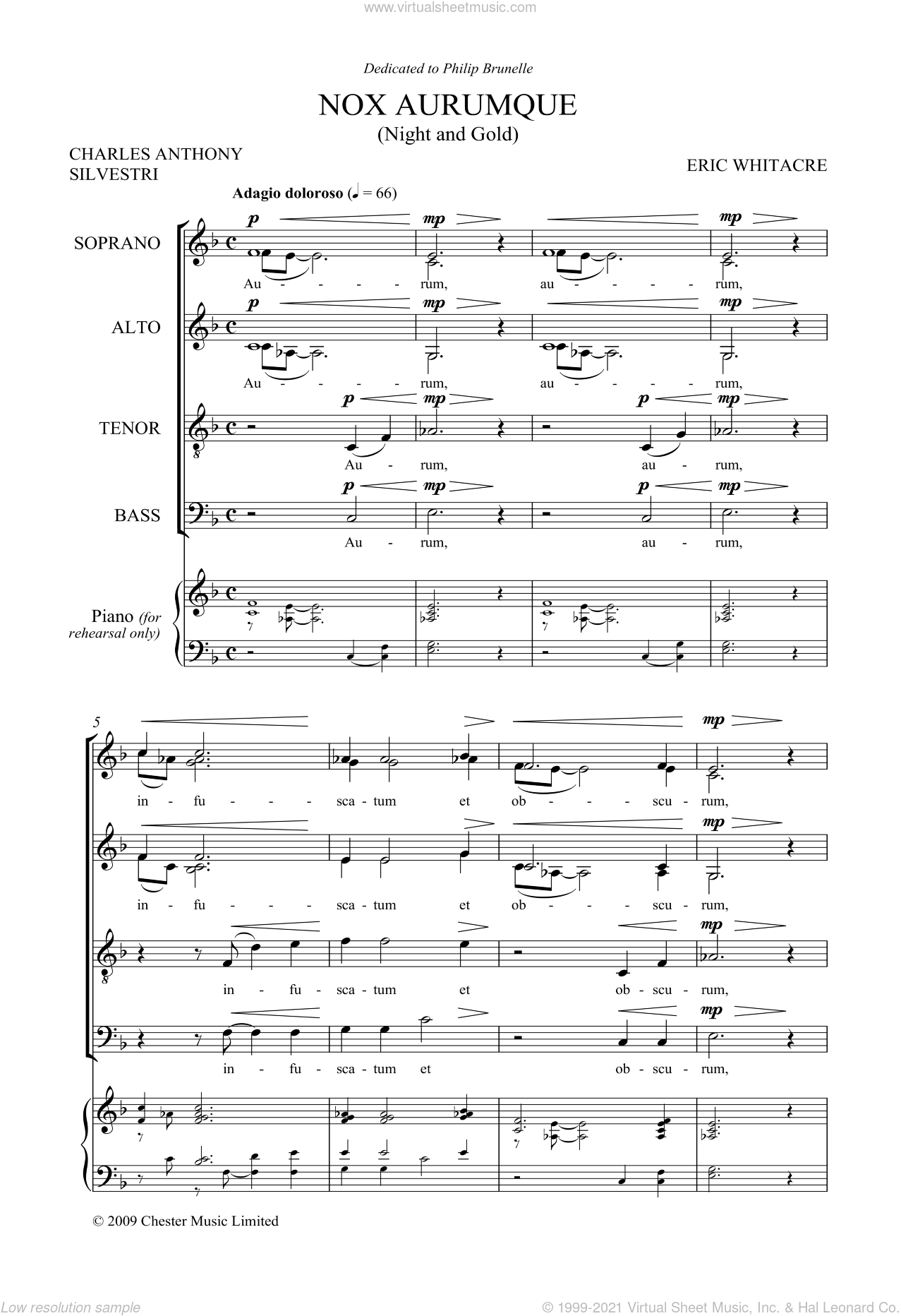 Nox Aurumque (Night and Gold) sheet music for choir (SATB: soprano, alto, tenor, bass) by Eric Whitacre, Charles Anthony Silvestri and Tony Silvestri, classical score, intermediate skill level
