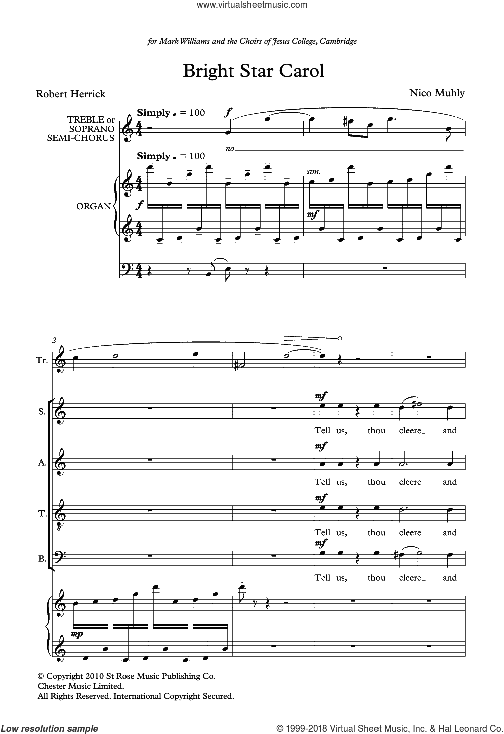 Bright Star Carol sheet music for choir by Nico Muhly. Score Image Preview.