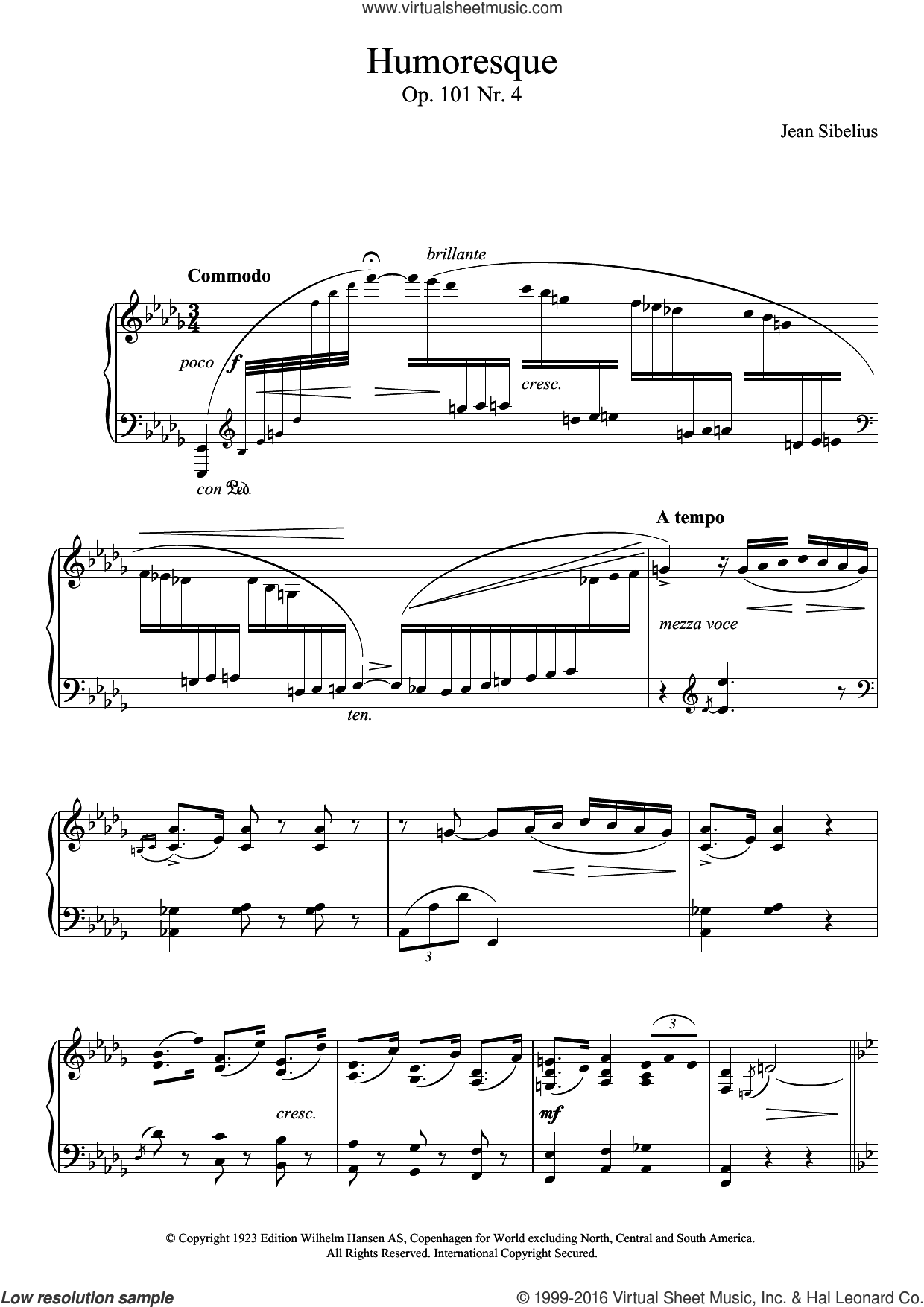 5 Morceaux Romantiques, Op.101 - IV. Humoresque sheet music for piano solo by Jean Sibelius. Score Image Preview.