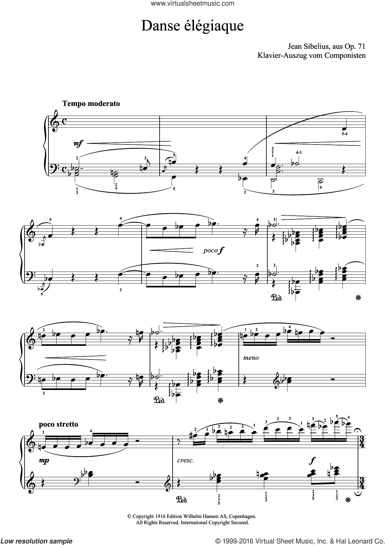 Danse Elegiaque (From Scaramouche, Op.71) sheet music for piano solo by Jean Sibelius. Score Image Preview.