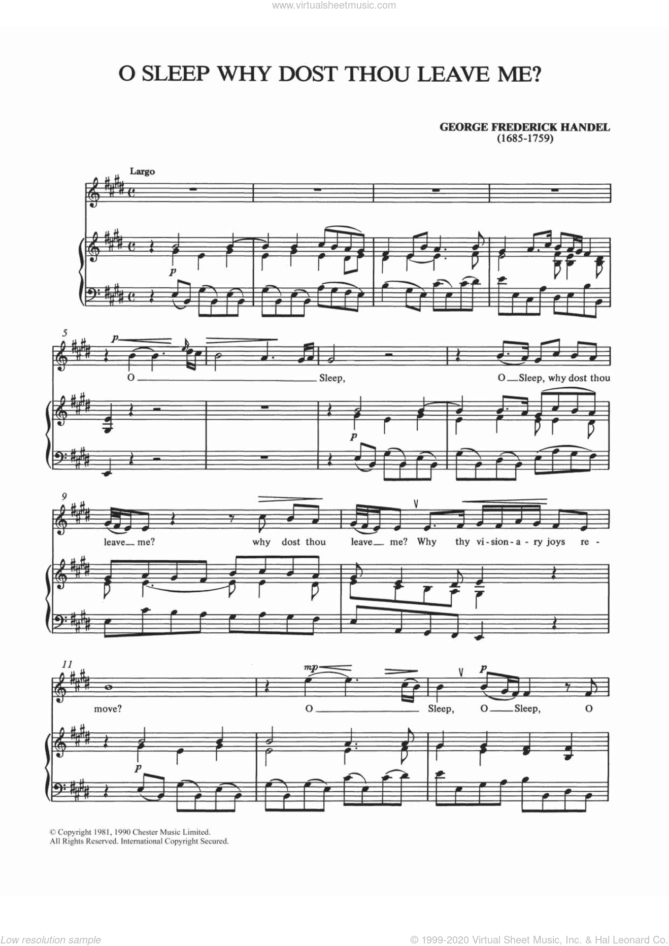 O Sleep Why Dost Thou Leave Me? sheet music for voice and piano by George Frideric Handel and Shirley Leah, classical score, intermediate skill level